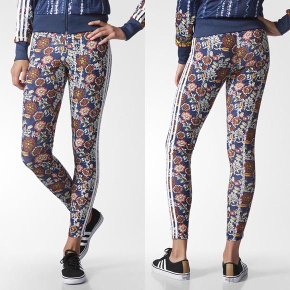 a75cb9aa1931d adidas Pants   Cirandeira Leggings Navy Floral Print Xs   Poshmark